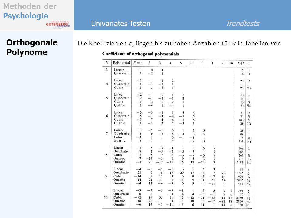Methoden der Psychologie Orthogonale Polynome Univariates Testen Trendtests Die Koeffizienten c ij liegen bis zu hohen Anzahlen für k in Tabellen vor.