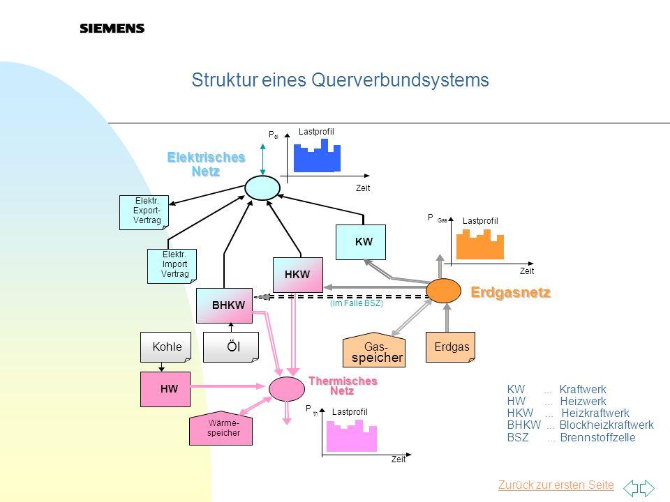 Zurück zur ersten Seite Struktur eines Querverbundsystems BHKW Elektr. Import Vertrag Elektr. Export- Vertrag KW ElektrischesNetz Thermisches Netz Erd