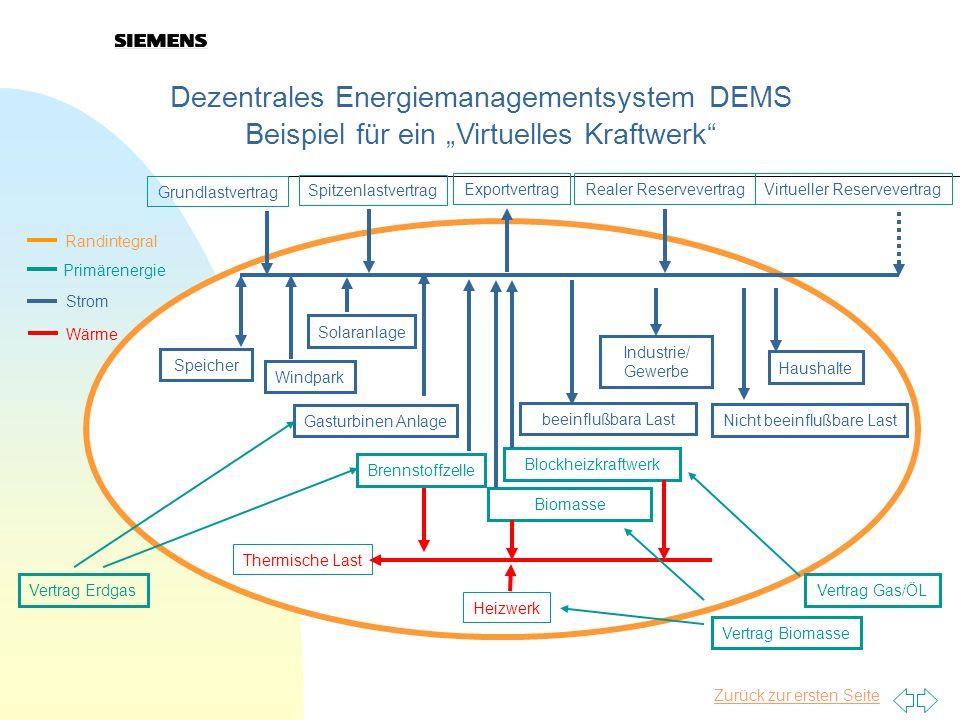 Zurück zur ersten Seite Dezentrales Energiemanagementsystem DEMS Beispiel für ein Virtuelles Kraftwerk Speicher Grundlastvertrag Spitzenlastvertrag Ex