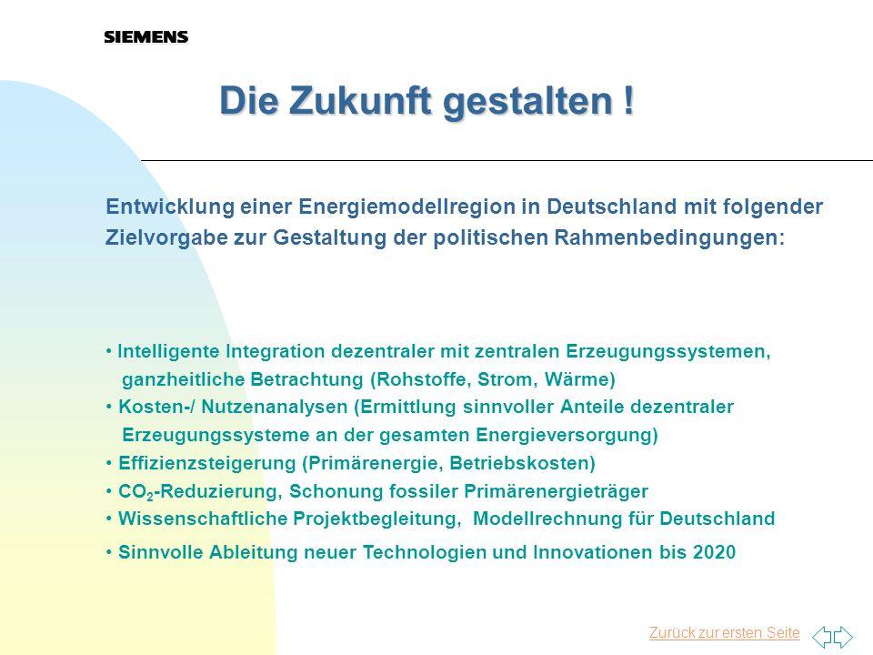 Zurück zur ersten Seite Die Zukunft gestalten ! Die Zukunft gestalten ! Entwicklung einer Energiemodellregion in Deutschland mit folgender Zielvorgabe