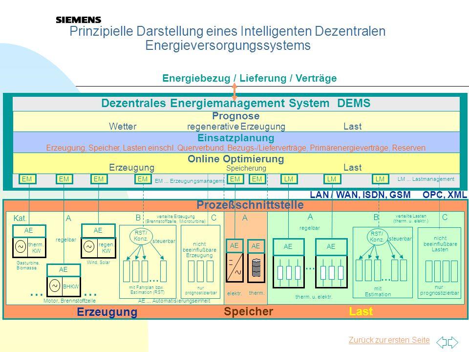 7 Prinzipielle Darstellung eines Intelligenten Dezentralen Energieversorgungssystems AE therm. KW AE regen. KW AE BHKW AE Gasturbine, Biomasse Motor,