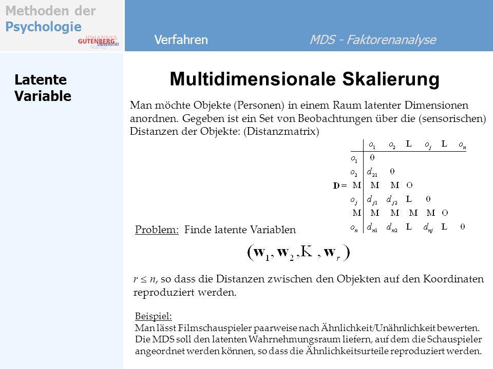 Methoden der Psychologie Faktorenanalyse Multidimensionale Skalierung Verfahren MDS - Faktorenanalyse Demo - Beispiel mit Excel und Statistica