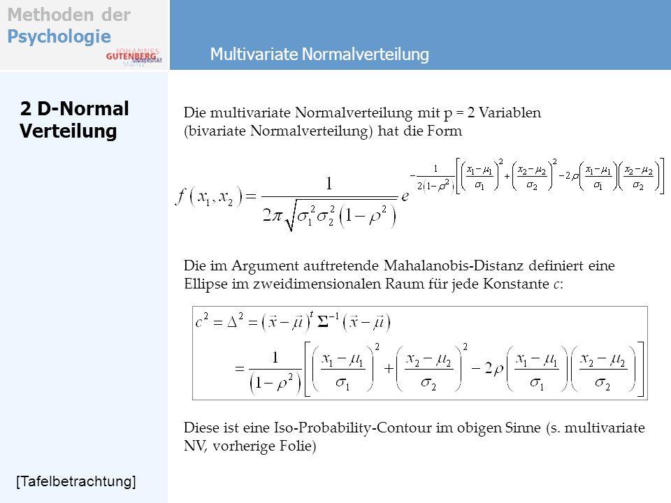 Methoden der Psychologie 2 D-Normal Verteilung Multivariate Normalverteilung Die multivariate Normalverteilung mit p = 2 Variablen (bivariate Normalve