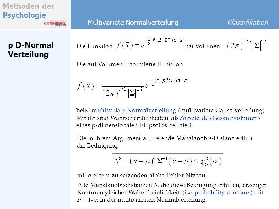 Methoden der Psychologie p D-Normal Verteilung Die Funktion Multivariate Normalverteilung Klassifikation hat Volumen Die auf Volumen 1 normierte Funkt