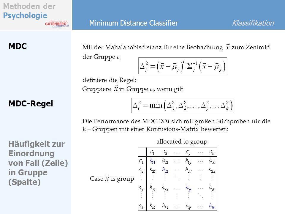 Methoden der Psychologie MDC Minimum Distance Classifier Klassifikation Mit der Mahalanobisdistanz für eine Beobachtung Gruppiere in Gruppe c i, wenn