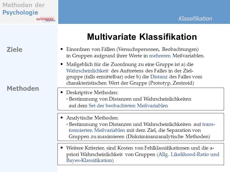 Methoden der Psychologie Klassifikation Ziele Einordnen von Fällen (Versuchspersonen, Beobachtungen) in Gruppen aufgrund ihrer Werte in mehreren Meßva
