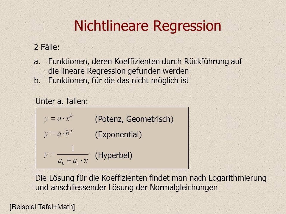 Nichtlineare Regression Die Lösung für die Koeffizienten findet man nach Logarithmierung und anschliessender Lösung der Normalgleichungen 2 Fälle: a.F