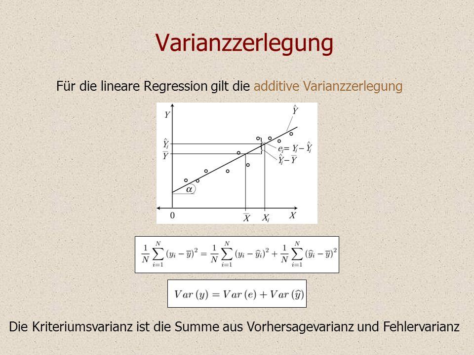 Varianzzerlegung Für die lineare Regression gilt die additive Varianzzerlegung Die Kriteriumsvarianz ist die Summe aus Vorhersagevarianz und Fehlervarianz