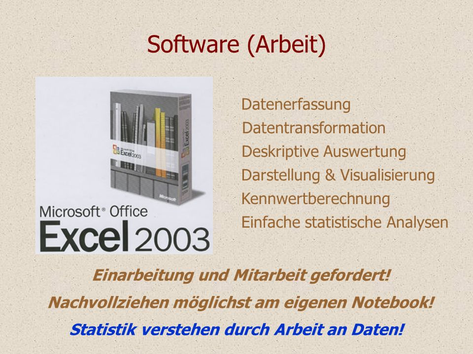 Software (Arbeit) Datenerfassung Datentransformation Deskriptive Auswertung Darstellung & Visualisierung Kennwertberechnung Einfache statistische Anal