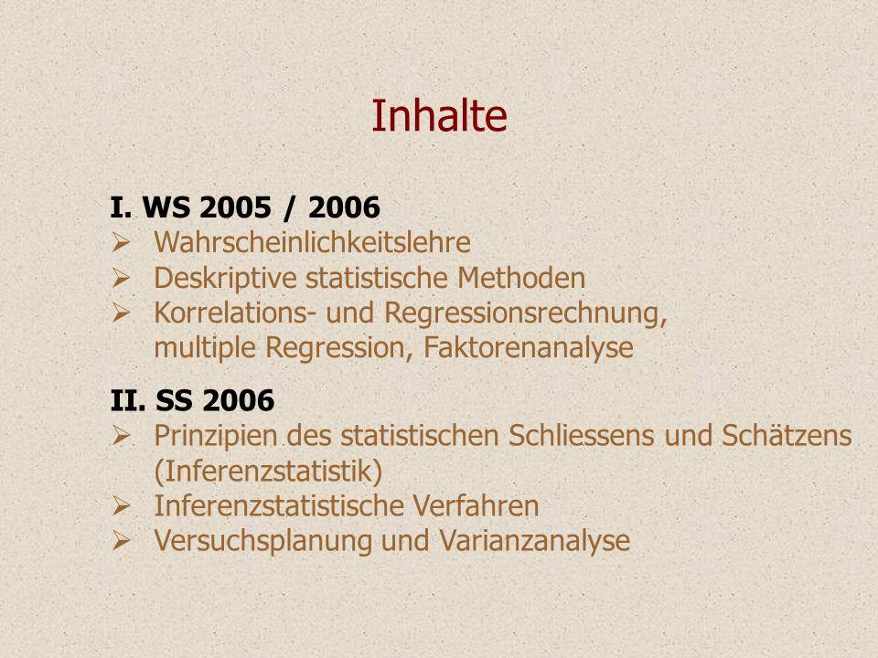 I. WS 2005 / 2006 Wahrscheinlichkeitslehre Deskriptive statistische Methoden Korrelations- und Regressionsrechnung, multiple Regression, Faktorenanaly