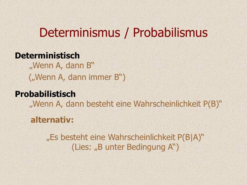 Determinismus / Probabilismus Probabilistisch Wenn A, dann besteht eine Wahrscheinlichkeit P(B) Es besteht eine Wahrscheinlichkeit P(B|A) (Lies: B unt