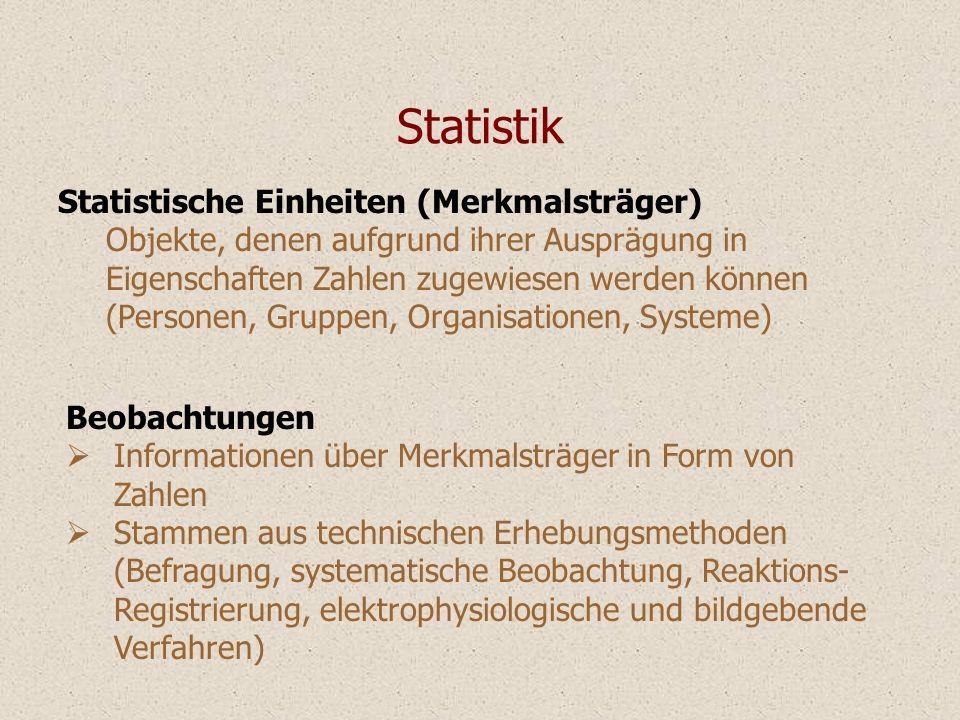 Statistische Einheiten (Merkmalsträger) Objekte, denen aufgrund ihrer Ausprägung in Eigenschaften Zahlen zugewiesen werden können (Personen, Gruppen,