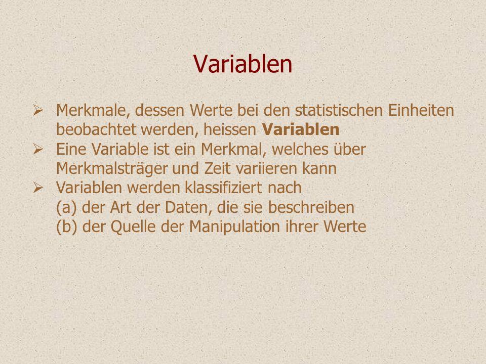 Variablen Merkmale, dessen Werte bei den statistischen Einheiten beobachtet werden, heissen Variablen Eine Variable ist ein Merkmal, welches über Merk