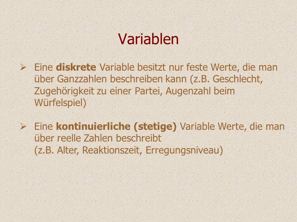 Variablen Eine diskrete Variable besitzt nur feste Werte, die man über Ganzzahlen beschreiben kann (z.B. Geschlecht, Zugehörigkeit zu einer Partei, Au