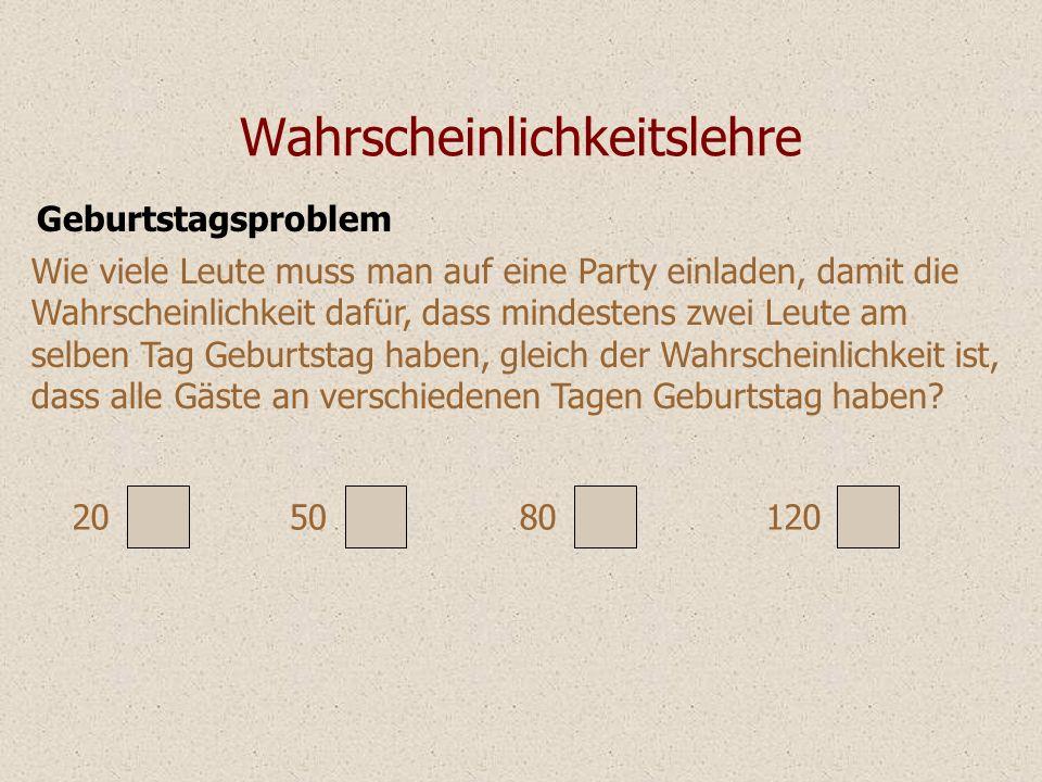 Geburtstagsproblem Wahrscheinlichkeitslehre Wie viele Leute muss man auf eine Party einladen, damit die Wahrscheinlichkeit dafür, dass mindestens zwei