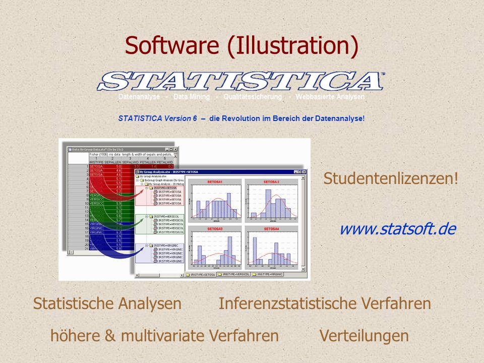 Software (Illustration) STATISTICA Version 6 – die Revolution im Bereich der Datenanalyse! Statistische AnalysenInferenzstatistische Verfahren höhere