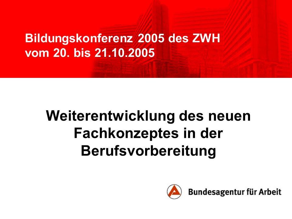 Bildungskonferenz 2005 des ZWH vom 20. bis 21.10.2005 Weiterentwicklung des neuen Fachkonzeptes in der Berufsvorbereitung