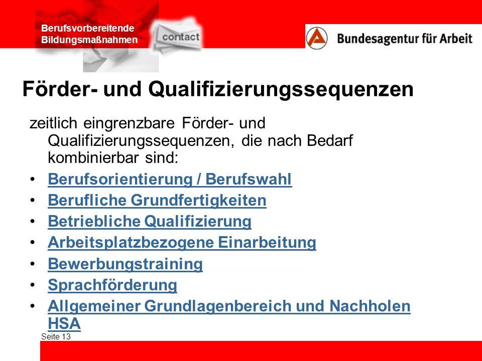 Berufsvorbereitende Bildungsmaßnahmen Seite 13 Förder- und Qualifizierungssequenzen zeitlich eingrenzbare Förder- und Qualifizierungssequenzen, die na