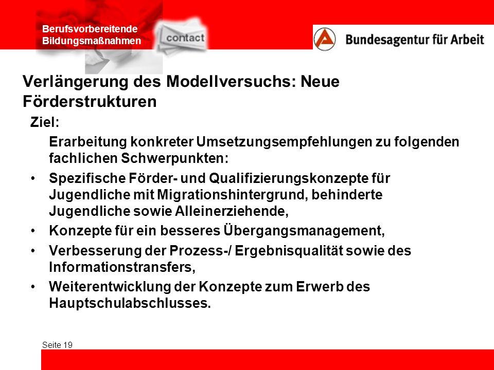Berufsvorbereitende Bildungsmaßnahmen Seite 19 Verlängerung des Modellversuchs: Neue Förderstrukturen Ziel: Erarbeitung konkreter Umsetzungsempfehlung