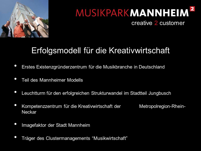 Erstes Existenzgründerzentrum für die Musikbranche in Deutschland Teil des Mannheimer Modells Leuchtturm für den erfolgreichen Strukturwandel im Stadt