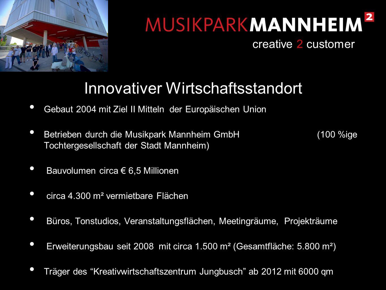 Gebaut 2004 mit Ziel II Mitteln der Europäischen Union Betrieben durch die Musikpark Mannheim GmbH (100 %ige Tochtergesellschaft der Stadt Mannheim) B