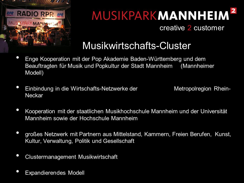 Enge Kooperation mit der Pop Akademie Baden-Württemberg und dem Beauftragten für Musik und Popkultur der Stadt Mannheim (Mannheimer Modell) Einbindung