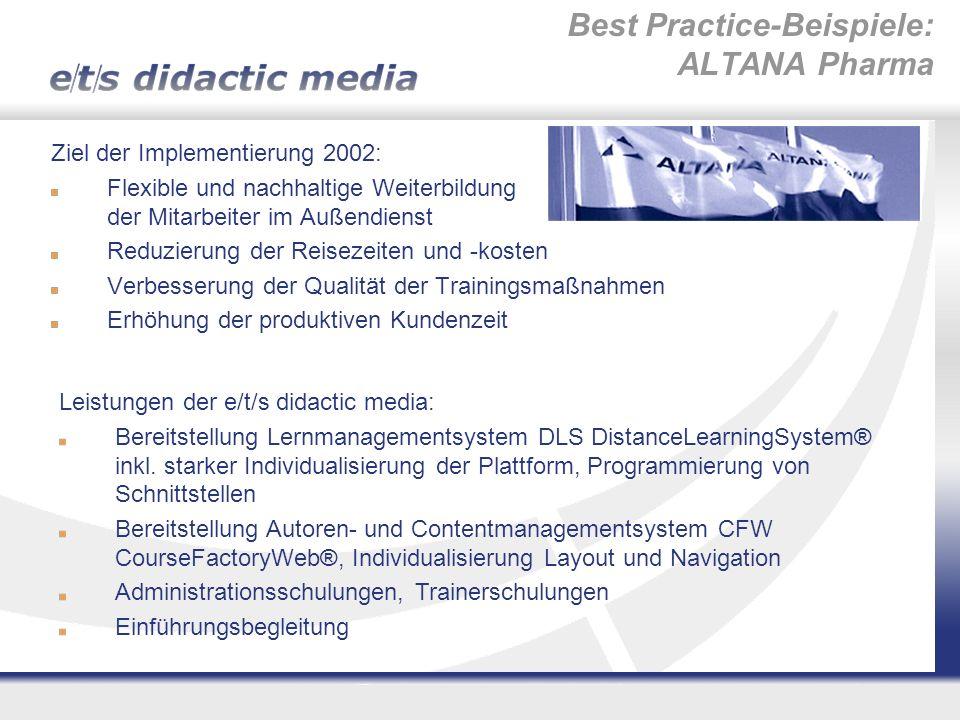 Best Practice-Beispiele: ALTANA Pharma Ziel der Implementierung 2002: Flexible und nachhaltige Weiterbildung der Mitarbeiter im Außendienst Reduzierun