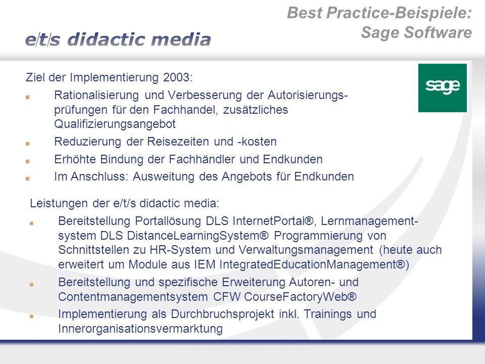 Best Practice-Beispiele: Sage Software Ziel der Implementierung 2003: Rationalisierung und Verbesserung der Autorisierungs- prüfungen für den Fachhand