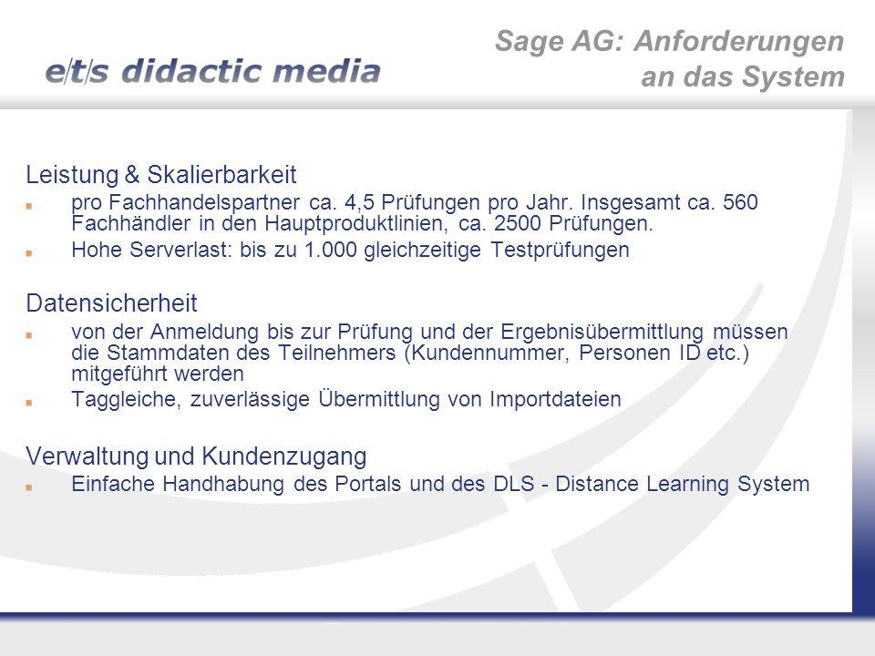 Sage AG: Anforderungen an das System Leistung & Skalierbarkeit pro Fachhandelspartner ca. 4,5 Prüfungen pro Jahr. Insgesamt ca. 560 Fachhändler in den