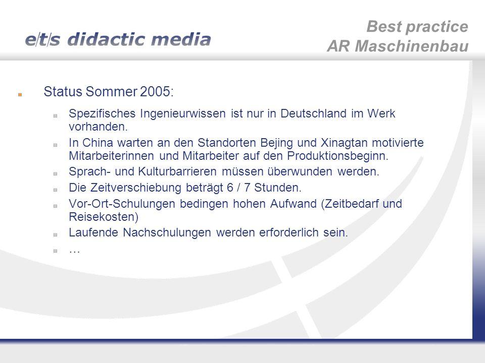 Status Sommer 2005: Spezifisches Ingenieurwissen ist nur in Deutschland im Werk vorhanden. In China warten an den Standorten Bejing und Xinagtan motiv