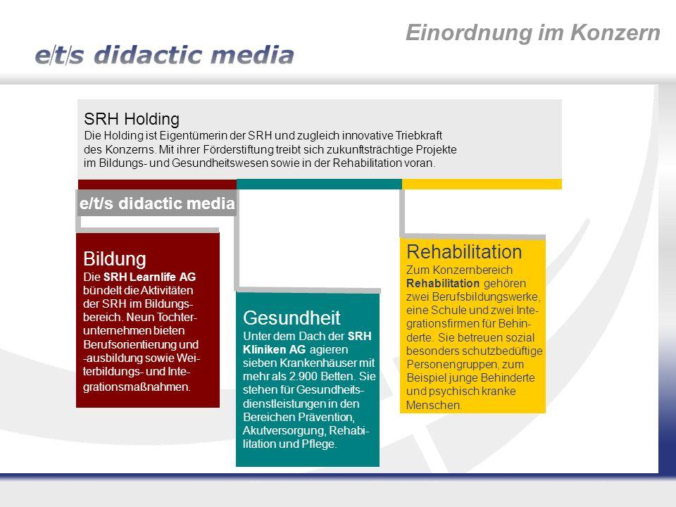Einordnung im Konzern SRH Holding Die Holding ist Eigentümerin der SRH und zugleich innovative Triebkraft des Konzerns. Mit ihrer Förderstiftung treib