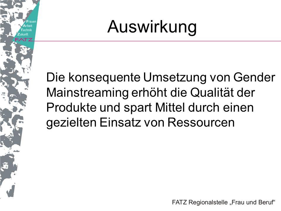 Auswirkung Die konsequente Umsetzung von Gender Mainstreaming erhöht die Qualität der Produkte und spart Mittel durch einen gezielten Einsatz von Ress