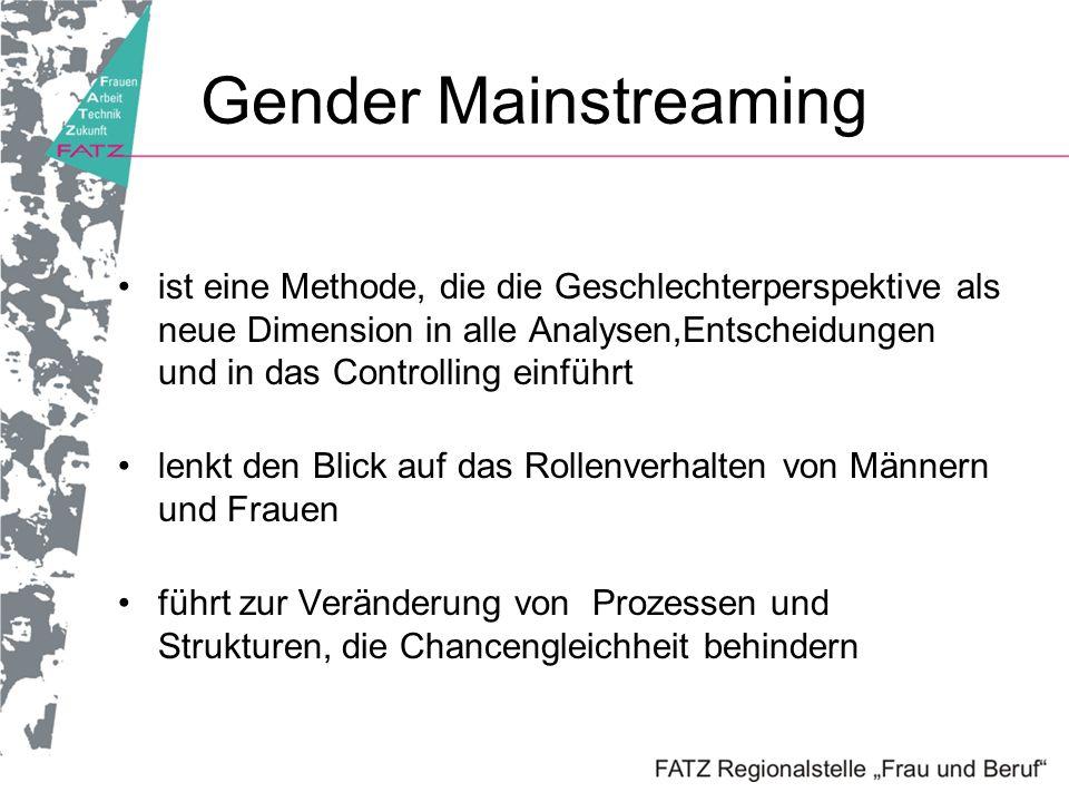 Gender Mainstreaming ist eine Methode, die die Geschlechterperspektive als neue Dimension in alle Analysen,Entscheidungen und in das Controlling einfü