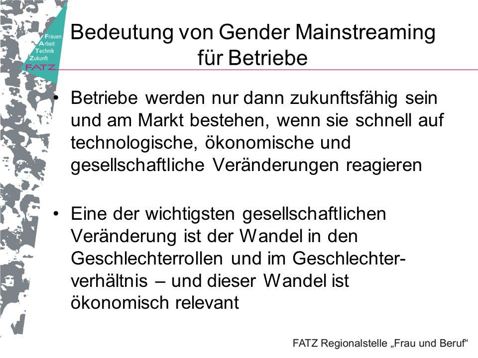Bedeutung von Gender Mainstreaming für Betriebe Betriebe werden nur dann zukunftsfähig sein und am Markt bestehen, wenn sie schnell auf technologische