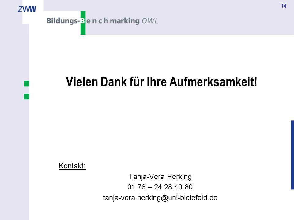 14 Vielen Dank für Ihre Aufmerksamkeit! Kontakt: Tanja-Vera Herking 01 76 – 24 28 40 80 tanja-vera.herking@uni-bielefeld.de