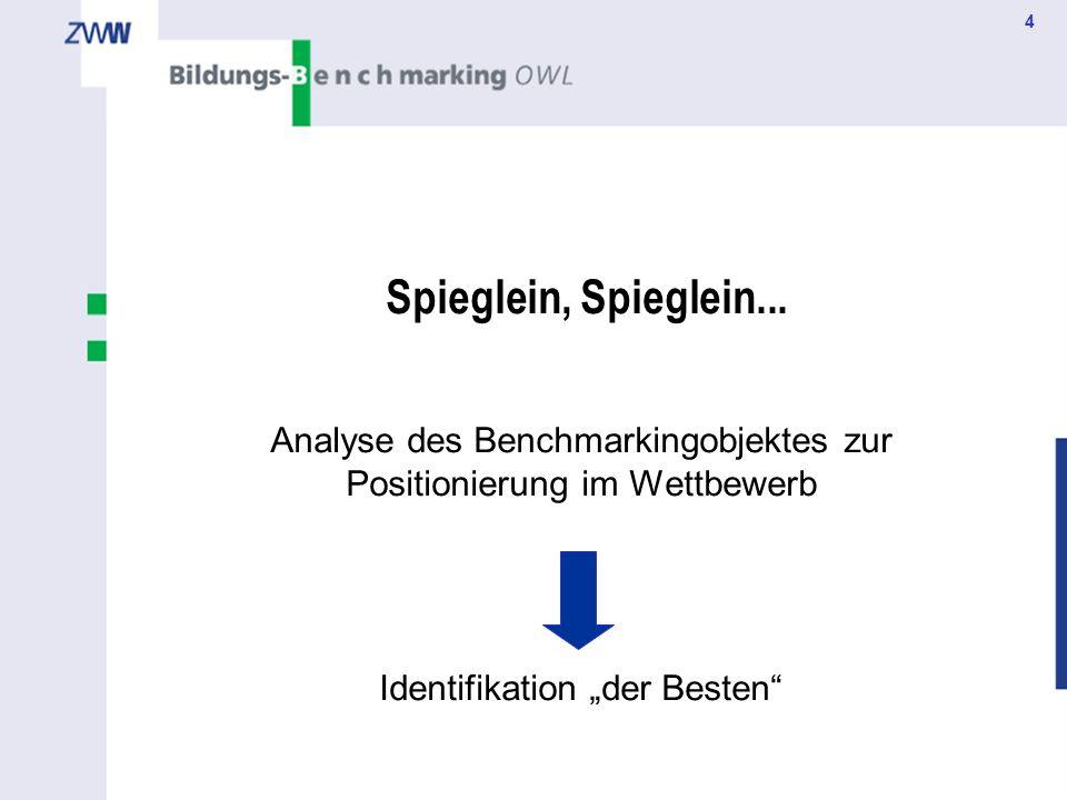 4 Spieglein, Spieglein... Analyse des Benchmarkingobjektes zur Positionierung im Wettbewerb Identifikation der Besten
