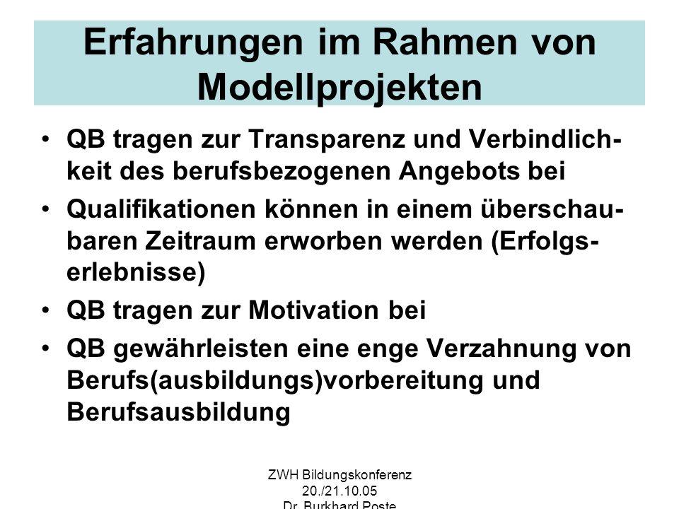 ZWH Bildungskonferenz 20./21.10.05 Dr. Burkhard Poste Erfahrungen im Rahmen von Modellprojekten QB tragen zur Transparenz und Verbindlich- keit des be