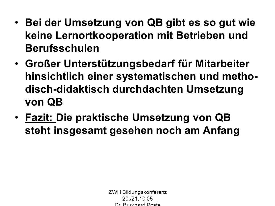 ZWH Bildungskonferenz 20./21.10.05 Dr. Burkhard Poste Bei der Umsetzung von QB gibt es so gut wie keine Lernortkooperation mit Betrieben und Berufssch