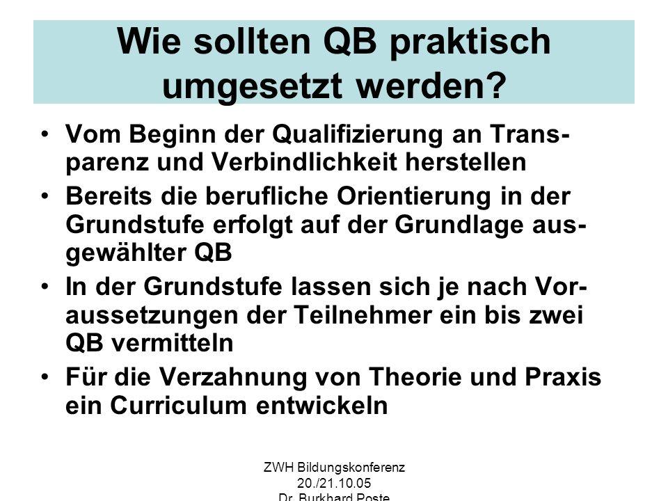ZWH Bildungskonferenz 20./21.10.05 Dr. Burkhard Poste Wie sollten QB praktisch umgesetzt werden? Vom Beginn der Qualifizierung an Trans- parenz und Ve