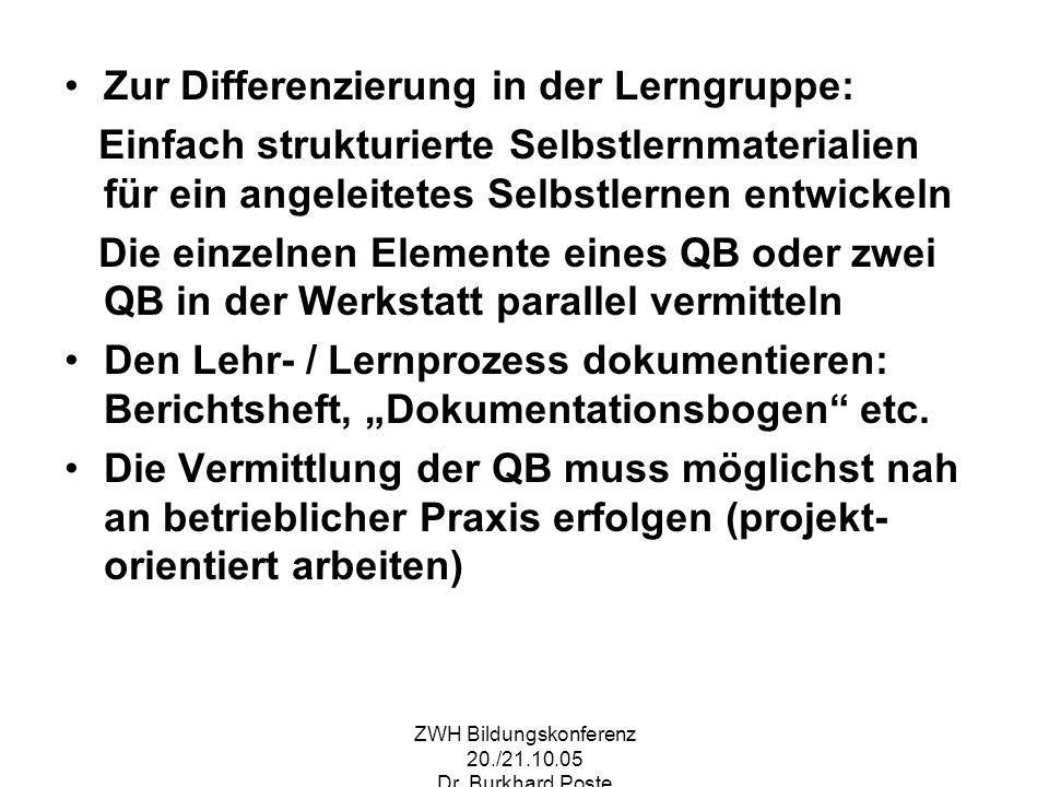 ZWH Bildungskonferenz 20./21.10.05 Dr. Burkhard Poste Zur Differenzierung in der Lerngruppe: Einfach strukturierte Selbstlernmaterialien für ein angel