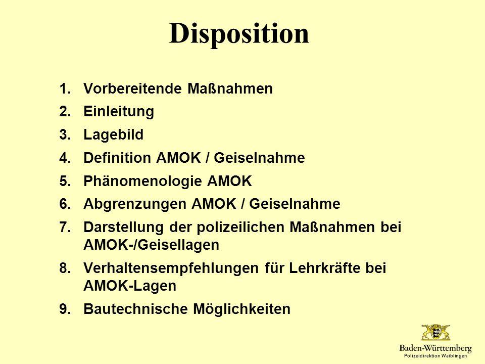 Polizeidirektion Waiblingen Disposition 1.Vorbereitende Maßnahmen 2.Einleitung 3.Lagebild 4.Definition AMOK / Geiselnahme 5.Phänomenologie AMOK 6.Abgr
