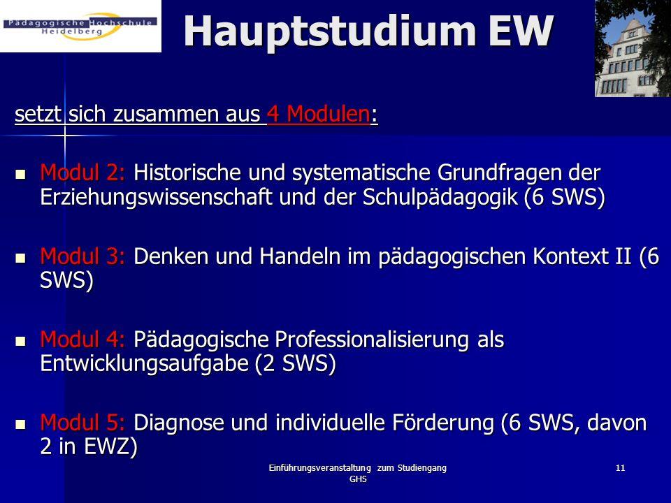 Einführungsveranstaltung zum Studiengang GHS 11 Hauptstudium EW setzt sich zusammen aus 4 Modulen: Modul 2: Historische und systematische Grundfragen
