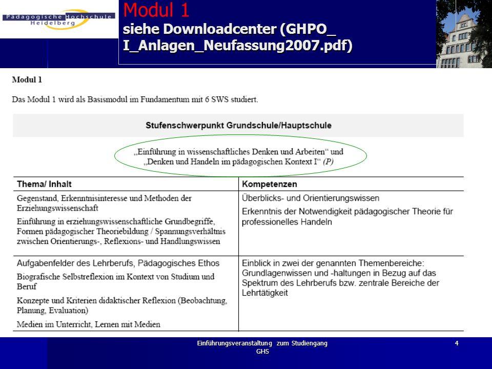 Einführungsveranstaltung zum Studiengang GHS 4 siehe Downloadcenter (GHPO_ I_Anlagen_Neufassung2007.pdf) Modul 1 siehe Downloadcenter (GHPO_ I_Anlagen