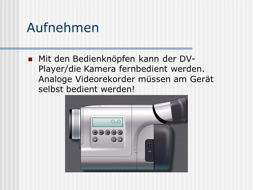 Aufnehmen Mit den Bedienknöpfen kann der DV- Player/die Kamera fernbedient werden.
