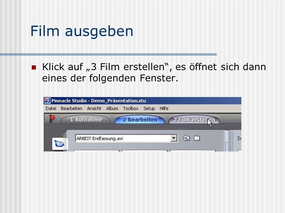 Film ausgeben Klick auf 3 Film erstellen, es öffnet sich dann eines der folgenden Fenster.