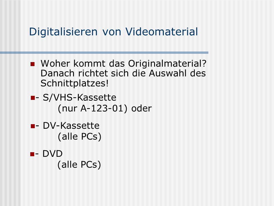 Digitalisieren von Videomaterial Woher kommt das Originalmaterial.