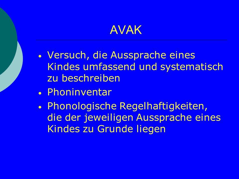 AVAK Versuch, die Aussprache eines Kindes umfassend und systematisch zu beschreiben Phoninventar Phonologische Regelhaftigkeiten, die der jeweiligen A
