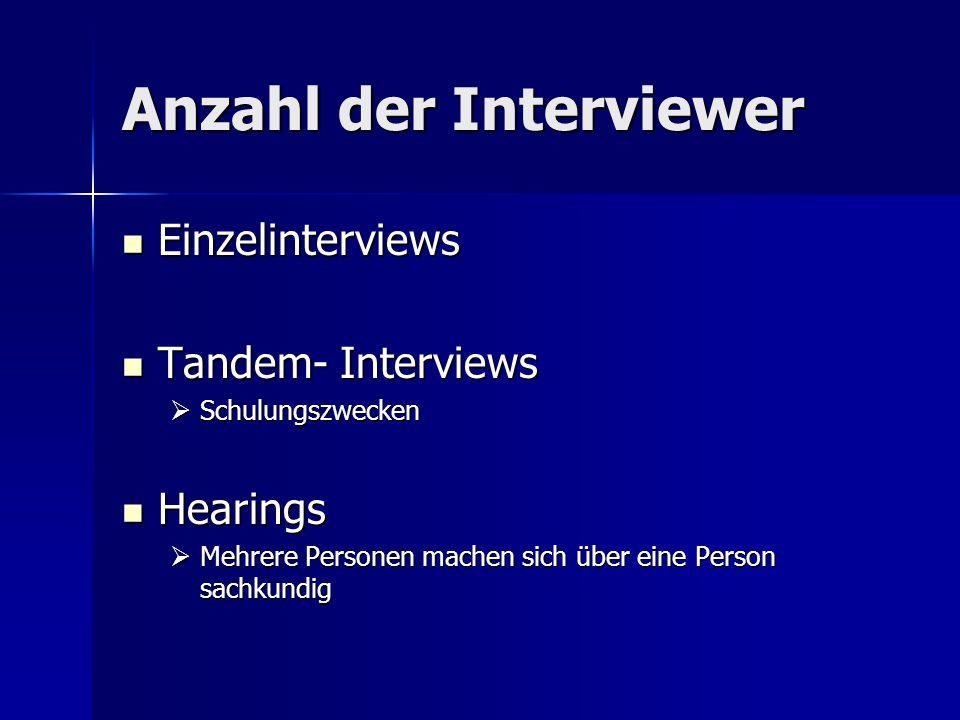 Anzahl der Interviewer Einzelinterviews Einzelinterviews Tandem- Interviews Tandem- Interviews Schulungszwecken Schulungszwecken Hearings Hearings Mehrere Personen machen sich über eine Person sachkundig Mehrere Personen machen sich über eine Person sachkundig