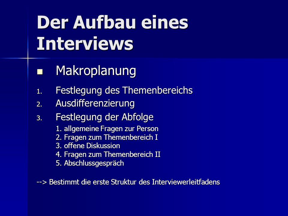 Der Aufbau eines Interviews Makroplanung Makroplanung 1.