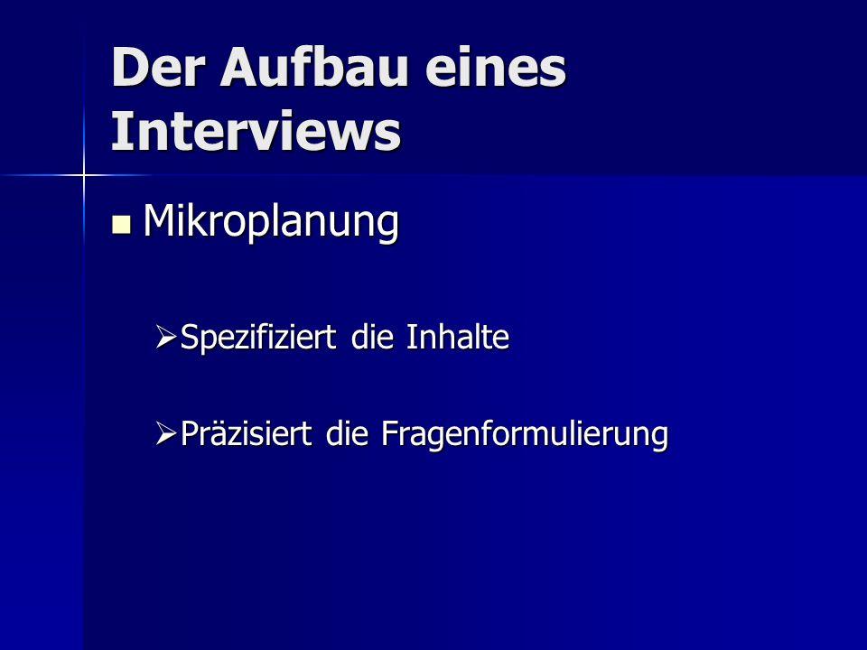 Der Aufbau eines Interviews Mikroplanung Mikroplanung Spezifiziert die Inhalte Spezifiziert die Inhalte Präzisiert die Fragenformulierung Präzisiert die Fragenformulierung
